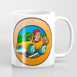 Cartoon man in delivery car Coffee Mug