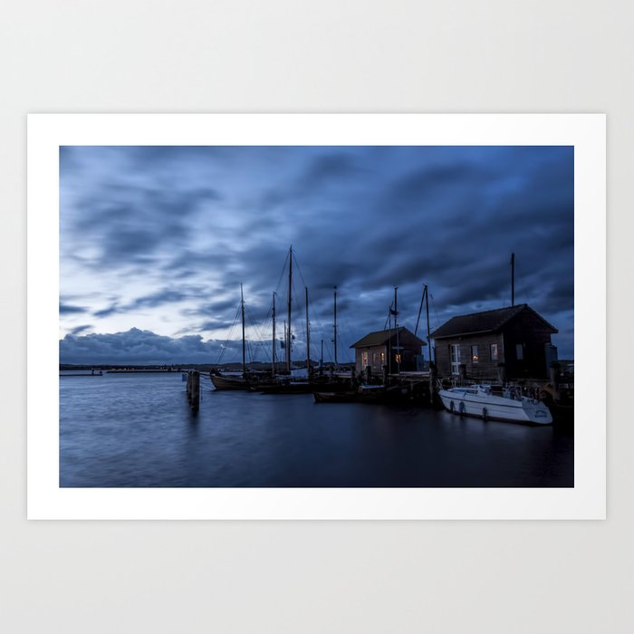 Blue memories- Blue hour at an harbour at the Sea #Society6 Art Print