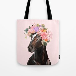 Horse with Flowers Crown in Pink Tote Bag