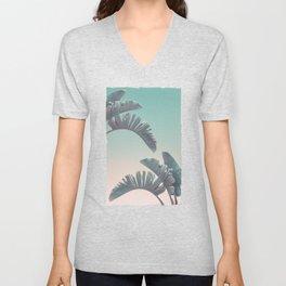 Tropical Palm Leaves In Pastel Light Unisex V-Neck