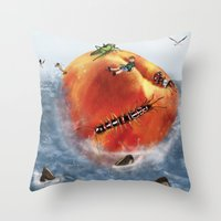 roald dahl Throw Pillows featuring James And The Giant Peach. by Jamie Briggs