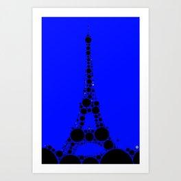 "Eiffel Tower Dark Blue Background - from ""Further Back"" series Art Print"