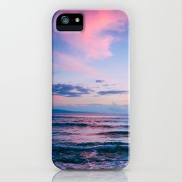 Pink and Blue Peaceful Ocean Sunset iPhone Case