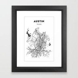 AUSTIN MAP PRINT Framed Art Print