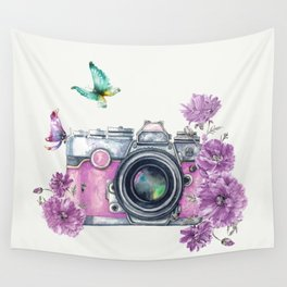 Camera with Summer Flowers 2 Wall Tapestry