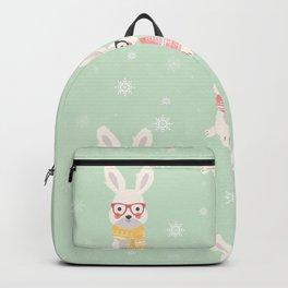 White rabbit Christmas pattern 001 Backpack