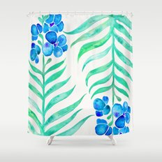 Blooming Orchid – Mint & Blue Palette Shower Curtain