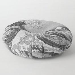Black & White Japanese Great Wave off Kanagawa by Hokusai Floor Pillow