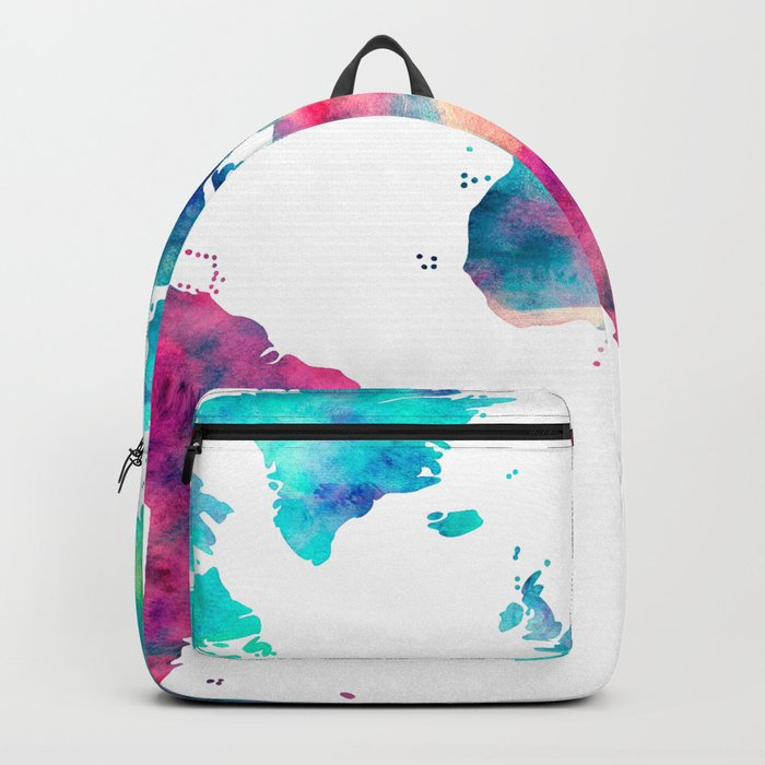 310a4ce7e1 World Map Turquoise Pink Blue Green Backpack by mapmaker