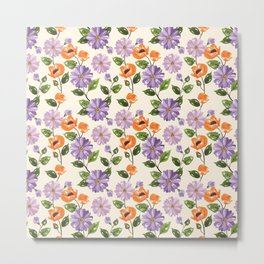 Rustic orange lavender ivory floral illustration Metal Print