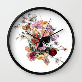 Skull and Flowers II Wall Clock