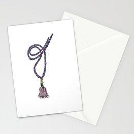 Meditation mantra mala necklace Stationery Cards