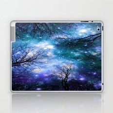 Black Trees Teal Violet Space Laptop & iPad Skin