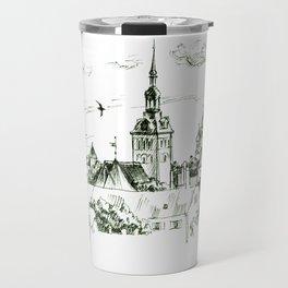 Medieval landscape. Travel Mug