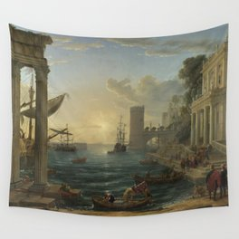Seaport with the Embarkation of the Queen of Sheba by Claude Wall Tapestry