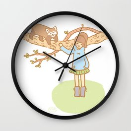 Girl with a red panda Wall Clock