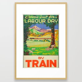 Vintage Travel by Train New Zealand Holiday Framed Art Print