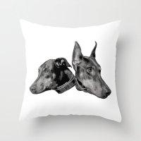 doberman Throw Pillows featuring Doberman by G Boutique