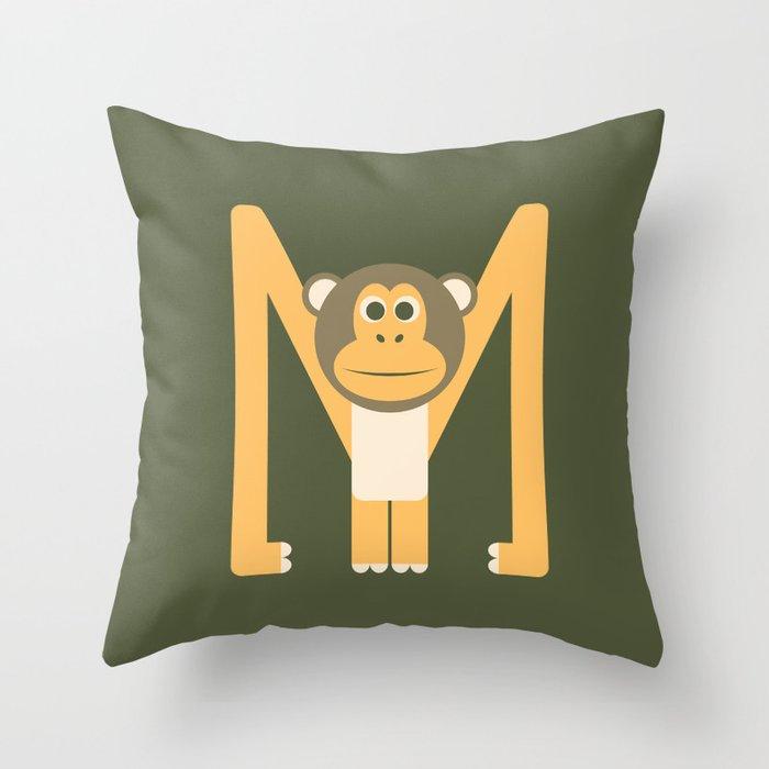 Letter M // Animal Alphabet // Monkey Monogram Throw Pillow