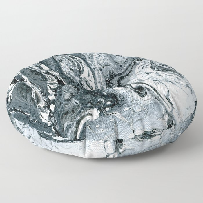 Fossil Creek - Black, Gray, and White Marbled Painting Floor Pillow