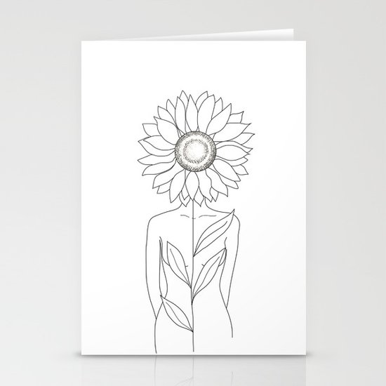 Minimalistic Line Art of Woman with Sunflower by nadja1