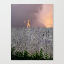 Sunset with girl walking on a wall followed by a balloon Canvas Print