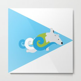Swimming Polar Bear Triangle Metal Print