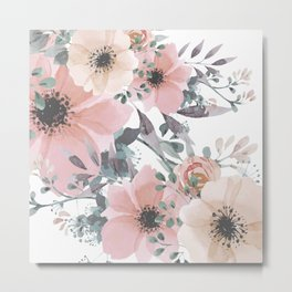 Abstract Watercolor, Blush Pink and Peach, Floral Watercolor Print Metal Print