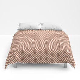 Creamy Off White SW7012 Tiny Uniform Polka Dot Pattern 1 on Cavern Clay SW 7701 Comforters