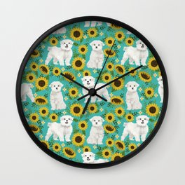 Maltese dog breed floral sunflower summer pattern dog gifts pet friendly dogs Wall Clock