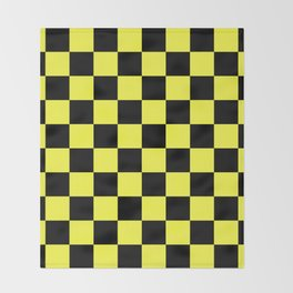 Black and Yellow Checkerboard Pattern Throw Blanket