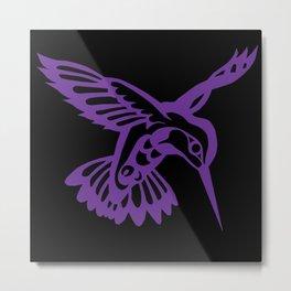 Hummingbird purple on black Metal Print