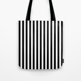 Stripe Black & White Vertical Tote Bag