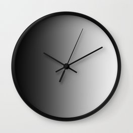 Black to White Vertical Linear Gradient Wall Clock