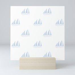 Pale Blue Sailboat Pattern Mini Art Print