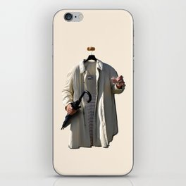 Raincoat of an invisible man with umbrella and watter glass iPhone Skin