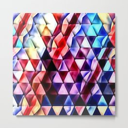 Multicolored Chrome Wave Triangles Metal Print