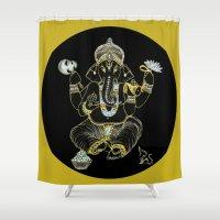 ganesha Shower Curtains featuring GANESHA by Dianah B