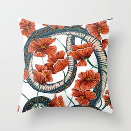Let Go, Let Grow – Teal Snake in Red Poppies Throw Pillow