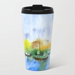 Ships and dunes in Nida, watercolor Travel Mug