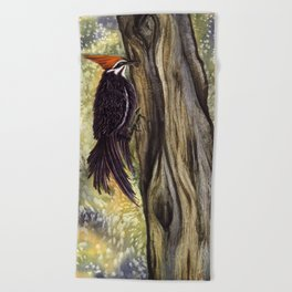 Pileated Woodpecker on a tree Beach Towel