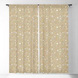 Gold & White Christmas Snowflakes Blackout Curtain