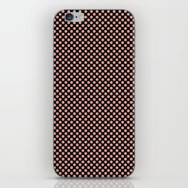 Black and Coral Pink Dots iPhone Skin