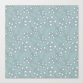 Baby's Breath Flower Pattern - Grey Green Canvas Print