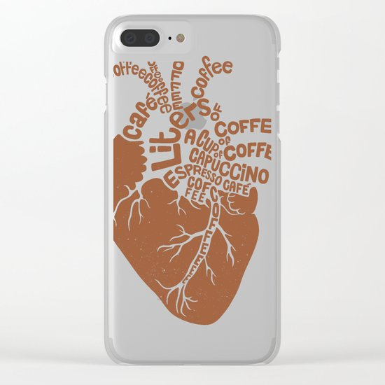 Coffee Lover Heart Clear iPhone Case