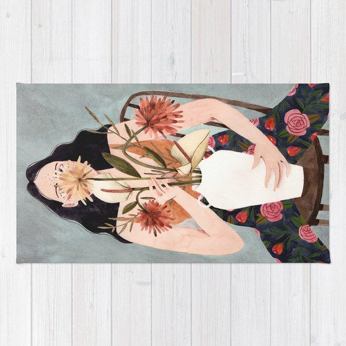 Hilda with vase Rug