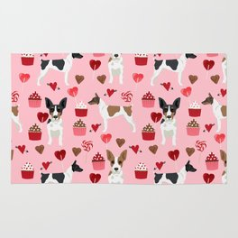 Rat Terrier valentines day cupcakes love hearts dog breed pet art dog pattern gifts unique pure bree Rug