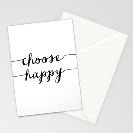 Choose Happy black and white monochrome typography poster design home decor bedroom wall art Stationery Cards