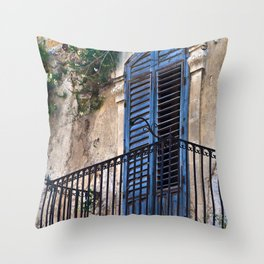 Blue Sicilian Door on the Balcony Throw Pillow