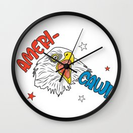 Independence Day Merica Bald Eagle Wall Clock